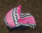 Pink Grey Chevron Stripe hot pink minky baby car seat cover infant seat cover slip cover Graco fit or evenflo