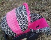 Damask hot pink minky baby car seat cover infant seat cover slip cover Graco fit or evenflo