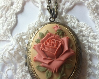 Victorian Mauve Necklace Grandmas Mother Daughter Vntg Locket Valentine Rose