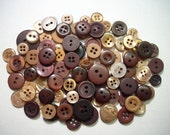 "450 Medium and Small Assorted Brown Buttons, no shanks, bulk sewing buttons, button sizes 1/8"" up to 3/4"""