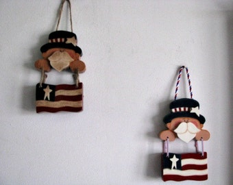 Uncle Sam, flag, Americana, patriotic,  wall decor/decoration, red, white and blue, prim or white, Americana, 4th of July