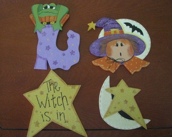Halloween Ornies, shoe, broom, cat, pumpkin, ghost, star, moon, witch, frog,wood