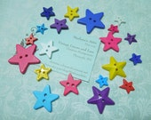 Star Buttons, Set of 20 Plastic bold colored Star buttons or findings by MarlenesAttic