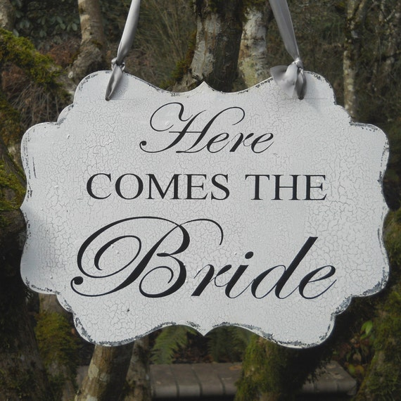 REVERSIBLE WEDDING SIGN Here Comes The Bride Happily Ever