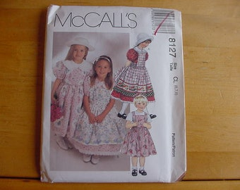 UNCUT McCalls 8127 Children's and Girls Dress and Pinafore  Size 6-7-8