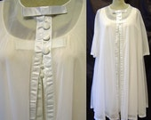 Vintage Negligee Nightie Peignoir / Robe Set White Warners Bust 36 Nylon