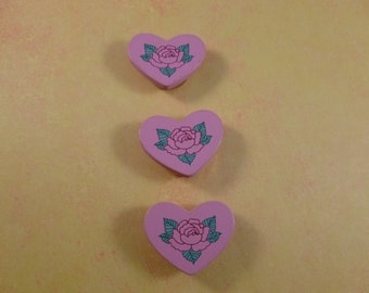 Vintage soft pink Rose Heart button covers