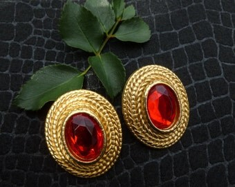 Large Gold And Red Rhinestone Pierced Earrings.