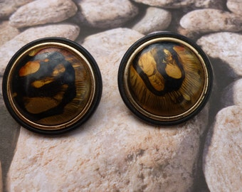 Large Black and Brown Pierced Earrings