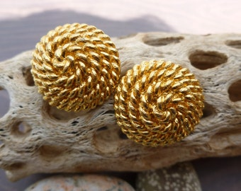 Monet Gold Roped circle pierced Earrings