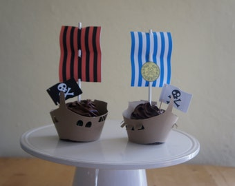 Jake and the Neverland Pirate Ship Cupcake Toppers