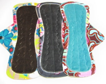 """11"""" OBV or Minky Cloth Menstrual Overnight Pads / Post Partum Pads - Set of 3 - Medium to Heavy Flow - Customize Your Set"""