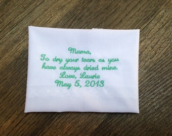 Mother of the bride personalized handkerchief