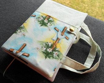 Cross and lilies, study Bible cover, case, purse, tote, padded, protective, padded,  cloth, fabric, crosses, Jesus Christ, Easter