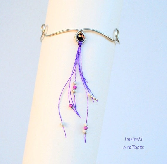 Purple arm cuff ~ dangle beads