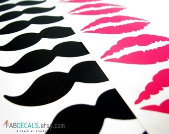 Mustache Decals, Lip Decals, Vinyl Decal, Kit Of 20 Decals, Wedding Decoration, Mugs, Cups, Wine Glass, Party Decoration - ID15 [p]