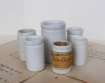 Antique Laboratory Apothecary Porcelain Ceramic Cups - WWI - Medium, Small - 1900's