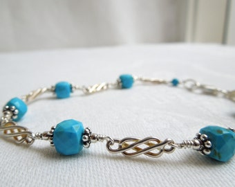 Turquoise Bracelet: AAA Turquoise Gemstone Cubes, Sterling Silver Celtic Knots, Bali Sterling Silver