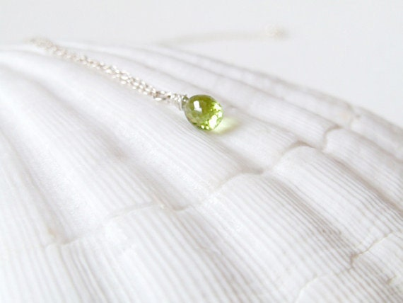 Peridot  Drop Necklace. Wire Wrapped Faceted Peridot. Faceted Peridot Teardrop. August Birthstone. Minimal Dainty Delicate. Layering