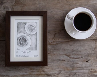 Latte Art - Drypoint Print