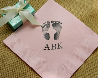 Baby Shower Footprints and Hand Prints Personalized Monogram Dinner Napkins Gender Neutral Girl or Boy- Set of 50