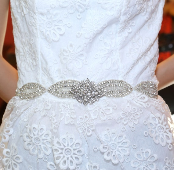 Vintage Victorian Oval Rhinestone Crystals Wedding Bridal Dress Buckle Applique Belt Sash - Custom Design