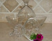 Vintage glass candlewick dessert cups, serving, collectible glass.