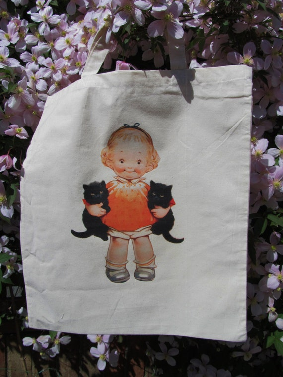 Hand Printed Doll Tote - Cotton Shopper Bag - Cute Girl with Cats