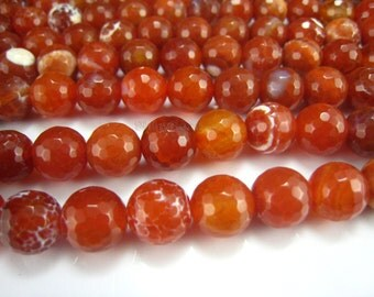 fire agate faceted round bead 10mm 15.5 inch strand