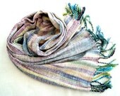 Handwoven White Scarf / Wrap/Shawl Multicolured Chenille OOAK