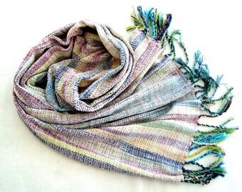 Handwoven White Scarf / Wrap/Shawl Multicolured Chenille OOAK