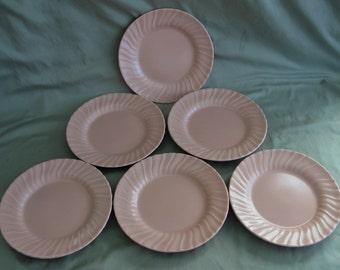 "Franciscan Coronado 8"" Salad Plates in Matte Coral (Set of Six)"