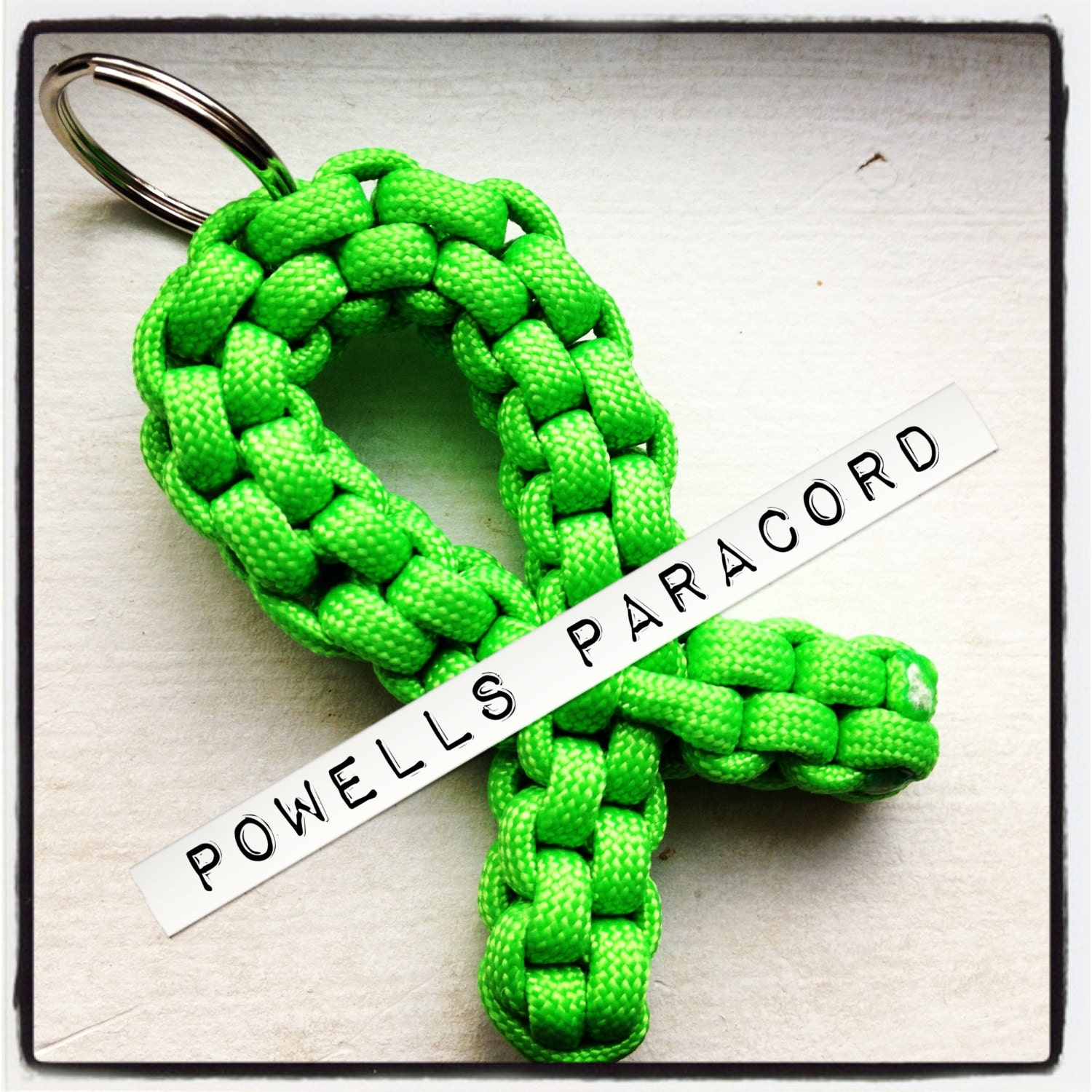 Green awareness ribbon paracord keychain by powellsparacord for How to make a keychain out of paracord