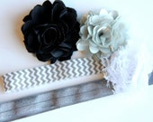 "Elastic Baby/Toddler Headband with Interchangeable Flowers ""Evangeline"""