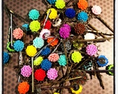 Set of 5...Assorted Color Cabochon Flowers...Bobby Pins...Girls Hairclips...Hairclips...Clips