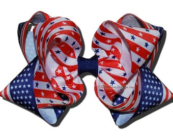 """Americana Stars and Stripes Boutique Hair Bow - 5"""" RoseyBow® - American Flag Print Double Hair Bow - Large Red, White and Blue Hair Bow"""