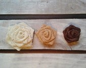 "Set of 5- Burlap Rosettes-3.5"" Large- 3 Colors Available- Weddings/ Country/ Folk/ Rustic-Fabric Flowers-Fabric Rosettes-Home Decor DIY"