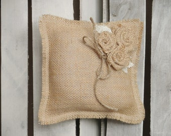 "8"" x 8"" Natural Burlap Ring Bearer Pillow w/ Burlap Rosettes and Jute Twine Detail- Rustic/Country/Shabby Chic/Folk/Wedding-Barn Wedding"