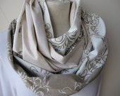 Cotton infinity scarf - loop scarf - circle scarf - Taupe beige ivory cotton fabric infinity scarf- gift under 10 dollar-women's scarves