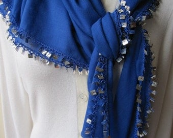 Sparkle-glitter scarf- silver sequin scarf/solid scarf-navy blue black red yellow cotton scarf,Turkish OYA scarf,handmade-women's scarves