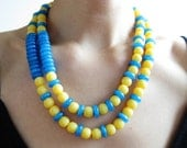 Blue and Yellow Necklace, Sunflower Yellow Necklace, Multi Strand Necklace, Wedding Jewelry, Bidal Jewelry