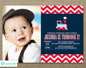 Train Invitation - Chevron Invitation - Train Printable - Choo Choo Train - Boy Birthday - Printable party - First Birthday - 2nd Birthday