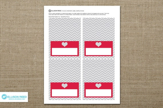 Valentines Party Printable - Party Labels - Place Cards - Valentines Day - Heart - Cheveron - Red - Gray - Love - Printable Party