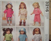 "McCalls sewing Pattern 3216 18"" doll fits American Girl Gotz clothing Hat shorts capri Skirt dress"