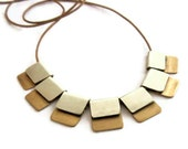 Silver Gold Necklace Silver Leather Necklace , Chiclet Necklace