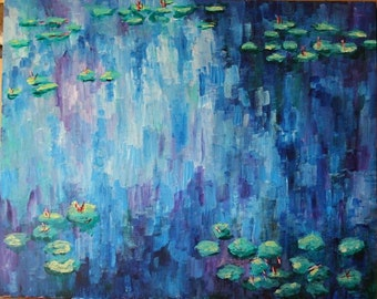 Impressionism Acrylic Painting with Water Lilies