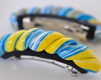 Sunshine Swirled Polymer Clay Hair Clip