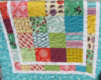 Homemade Baby Quilt, Patchwork Baby Quilt, Handmade Quilted Baby Blanket, Baby Shower GIft