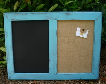 "30x22"" Teal distressed Style Frame Chalk Board & Cork board"