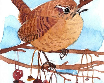 ACEO Limited Edition-Wren on berry branch, in watercolor